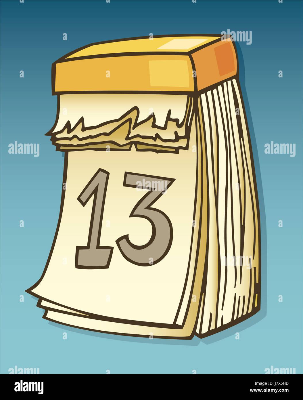 wall illustration cartoon thirteen thirteenth calender calendar comics comic Stock Photo