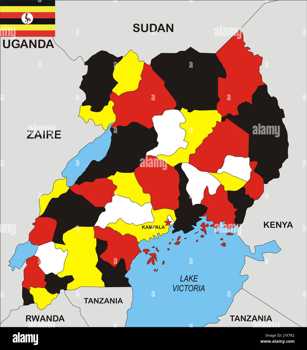 uganda map atlas map of the world political flag country state Stock ...