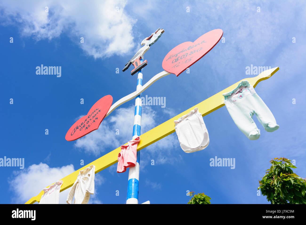 Kindsbaum (child pole) for twins twin kids, Geltendorf, Oberbayern, Upper Bavaria, Bayern, Bavaria, Germany - Stock Image