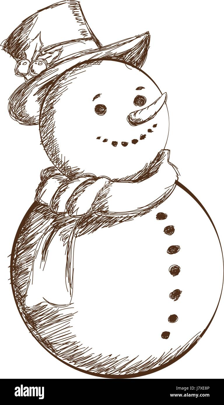 Christmas Snowman Vintage Decoration With Hat Scarf Engraving Style