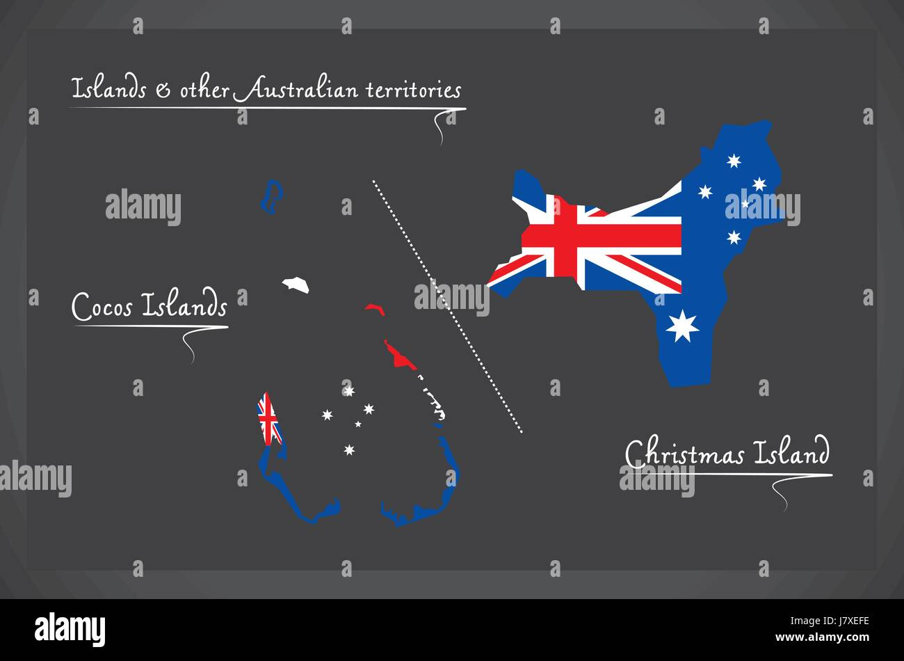 cocos islands and christmas island map with australian national flag illustration