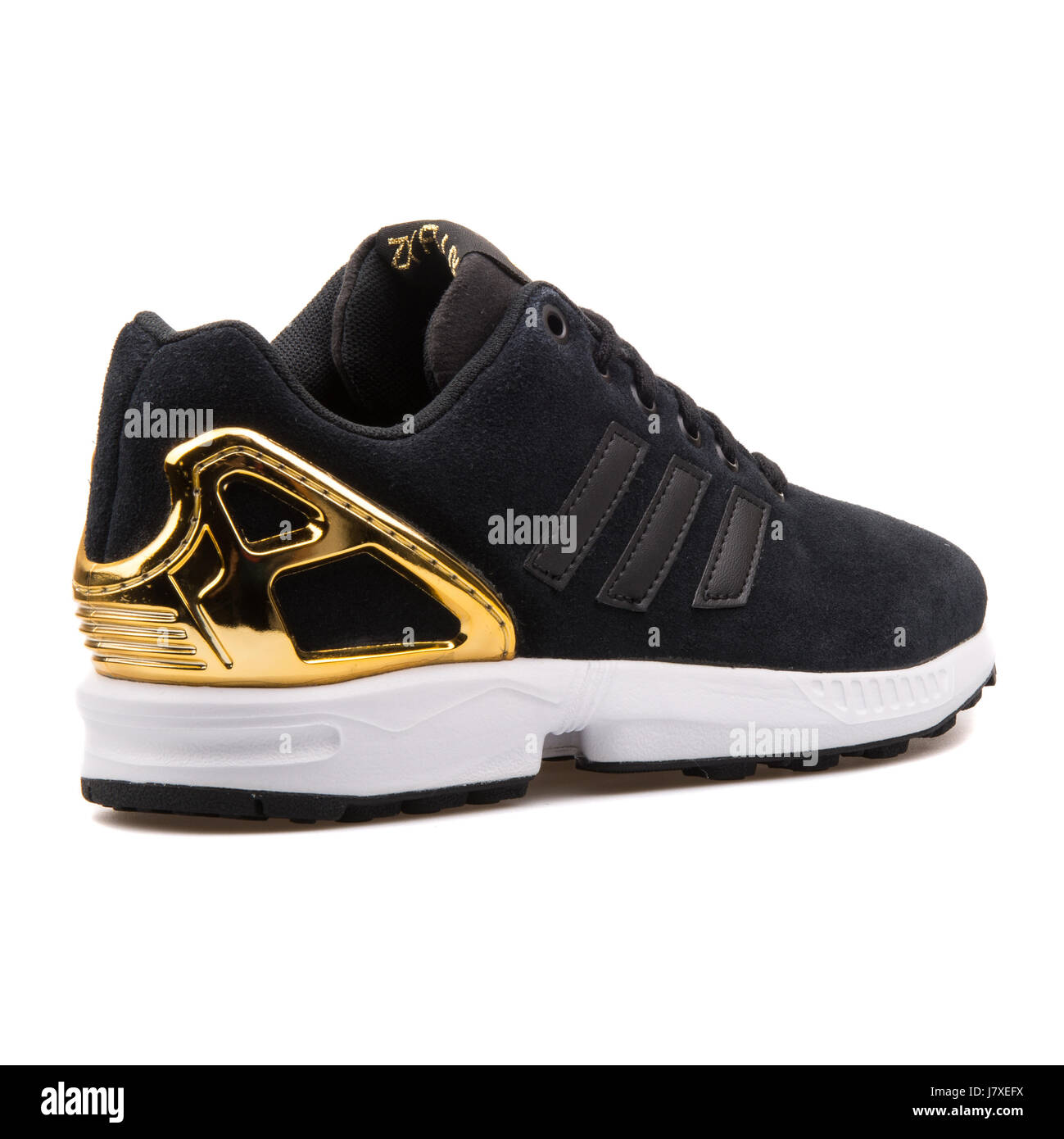 438dfafcc6cea Adidas ZX Flux W Women s Black and Gold Sneakers - B35319 - Stock Image
