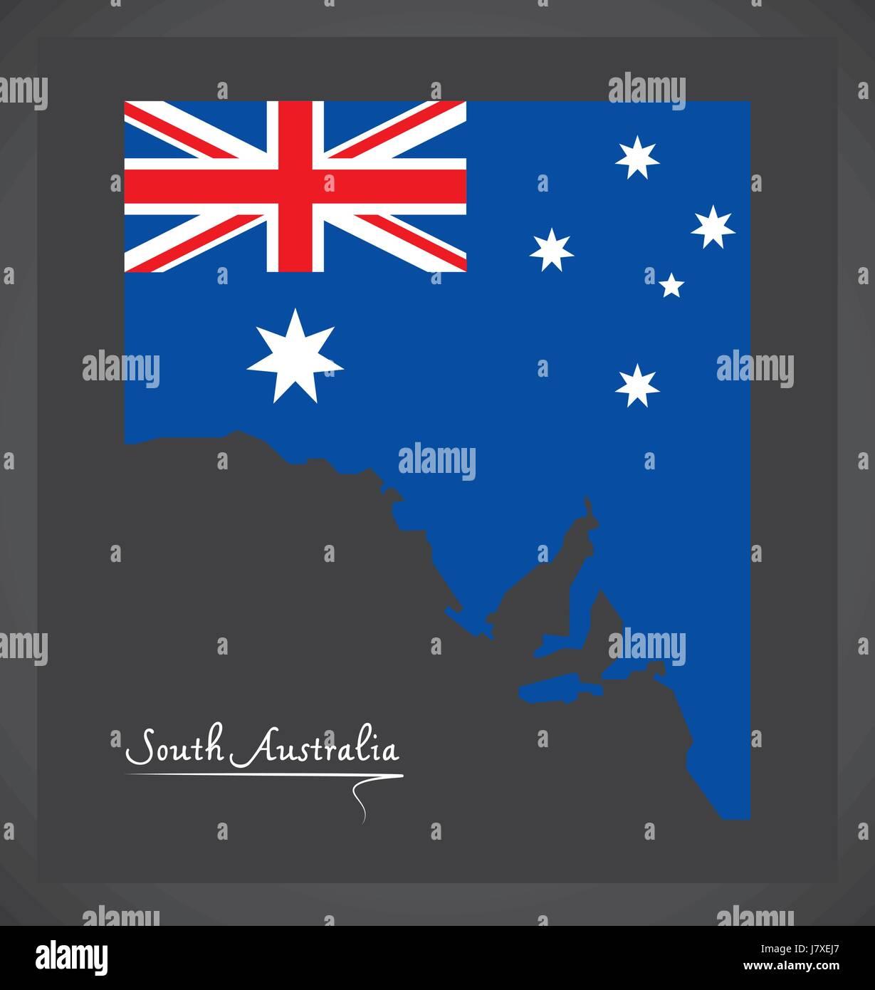 South Australia map with Australian national flag illustration - Stock Image