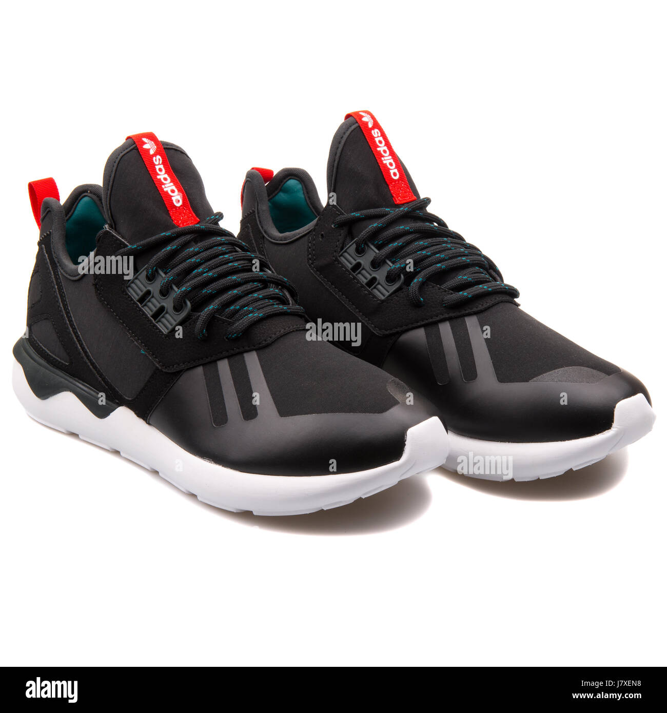 Adidas Tubular Runner Weave Black with Red Running Sneakers - S82651 -  Stock Image 82c3d0849