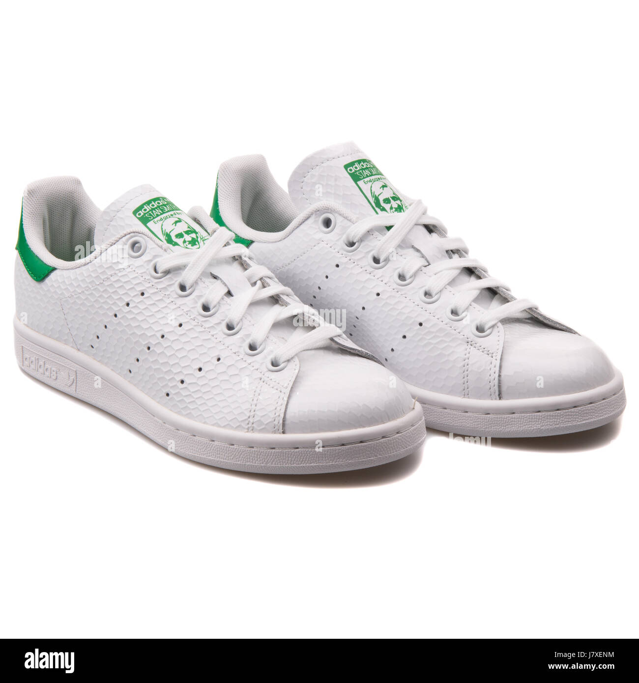 new style 5ed81 8816c Adidas Originals Stan Smith W Women s White with Green Sneakers - B35443 -  Stock Image