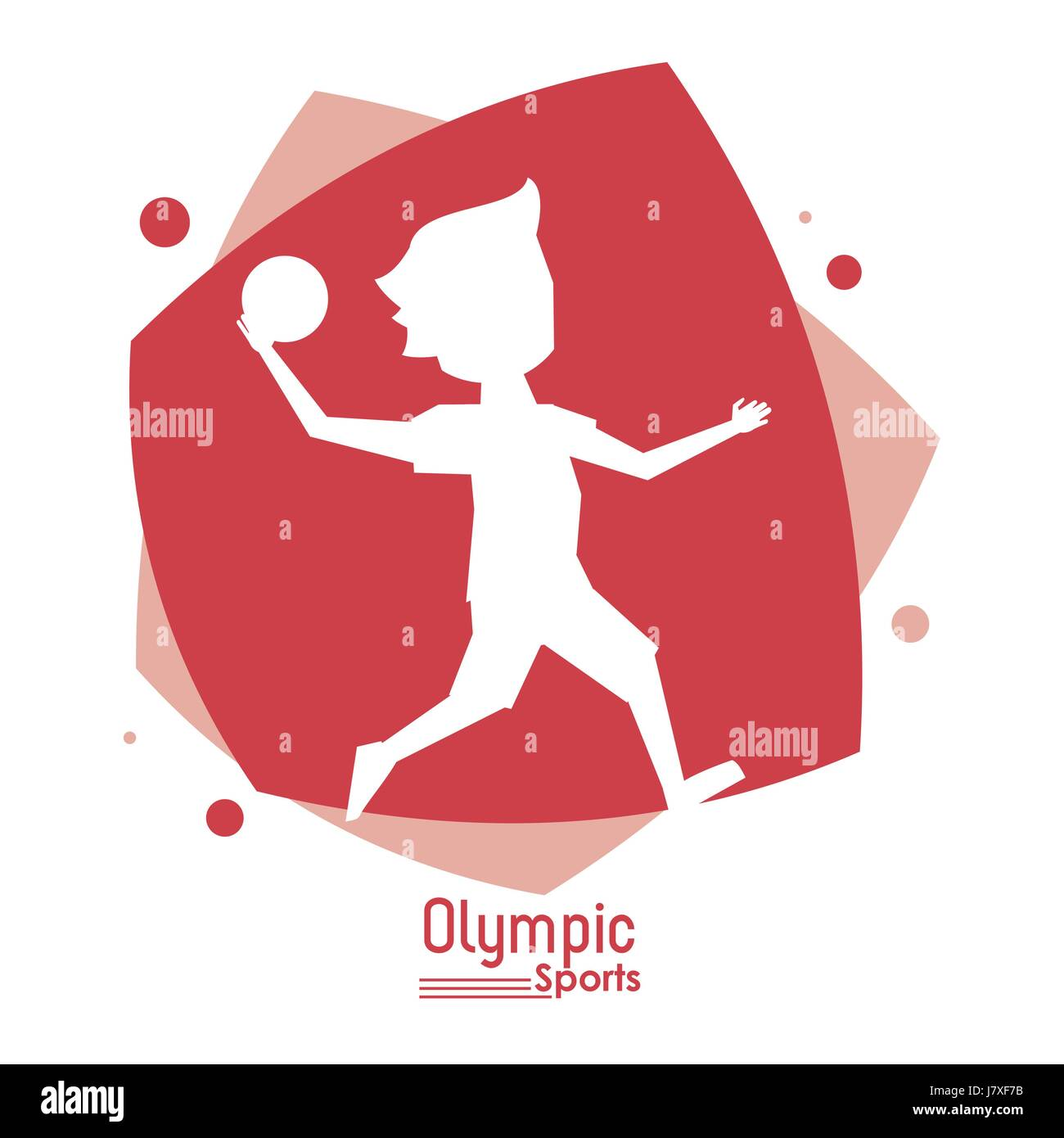 color abstract scene with silhouette faceless handball player olympic sport - Stock Vector
