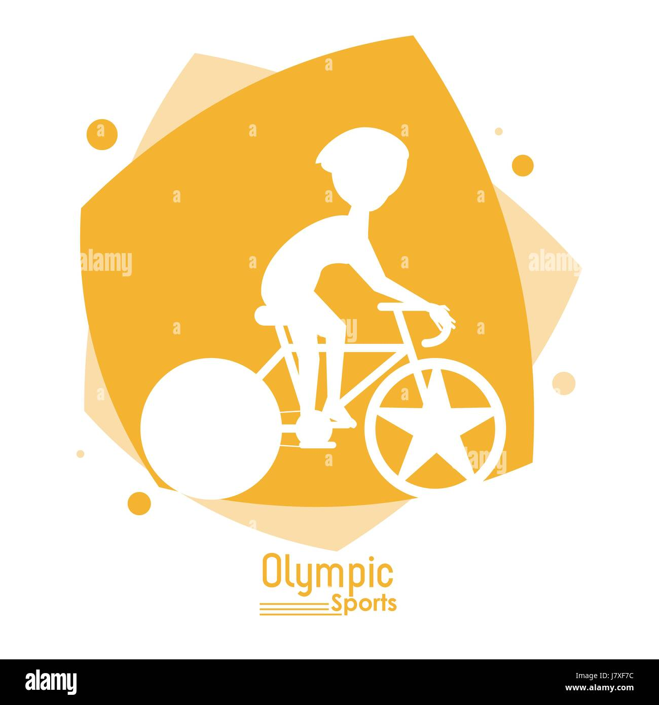 color abstract scene with silhouette faceless bicycle rider olympic sport - Stock Vector