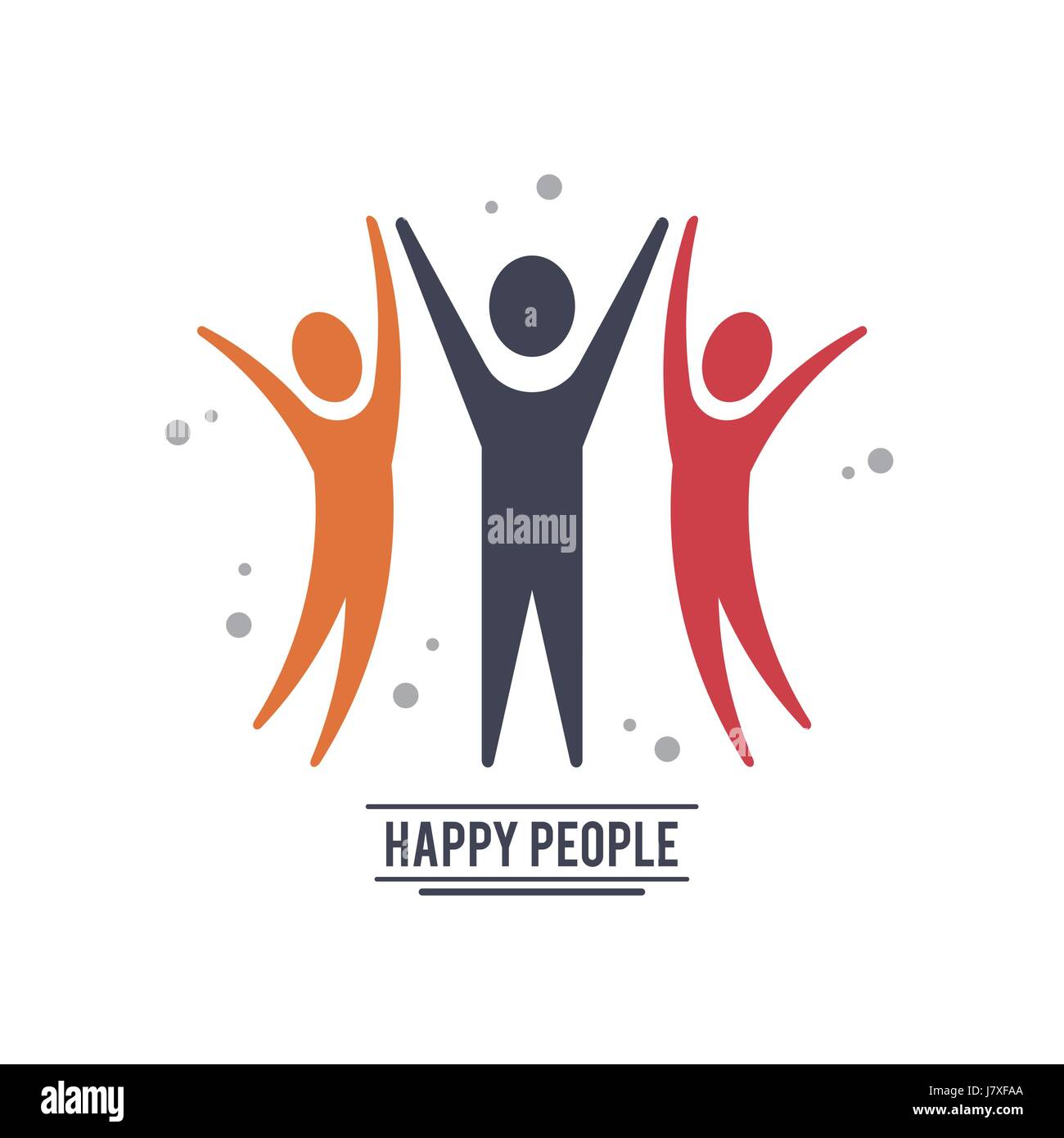 colorful teamwork happy people with three pictograms ...