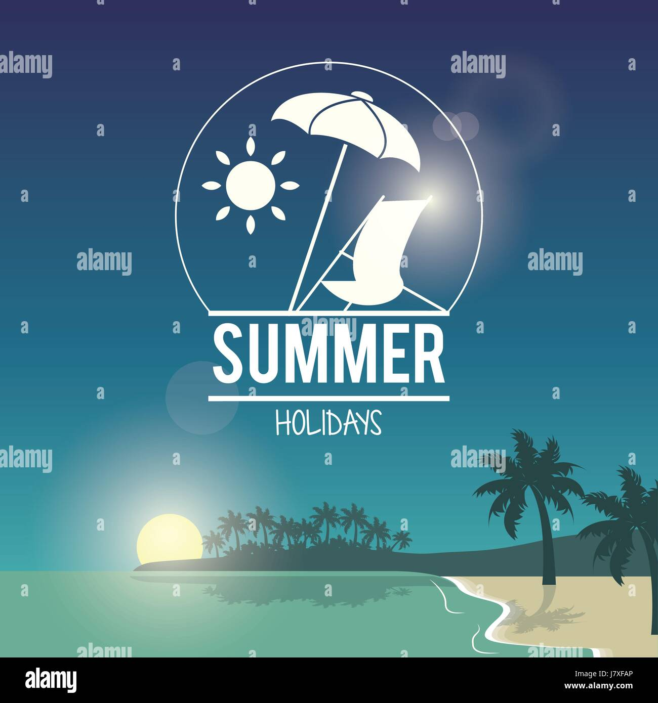 beautiful poster seaside with logo summer holydays - Stock Vector