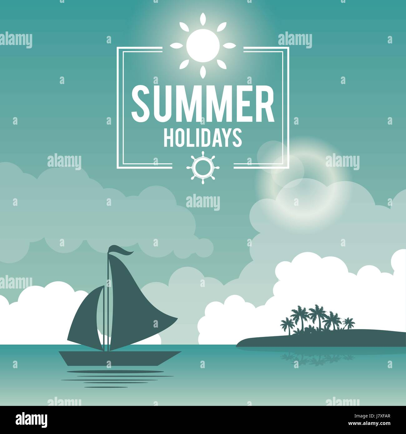 beautiful poster seaside with logo summer holydays and yacht Stock Vector
