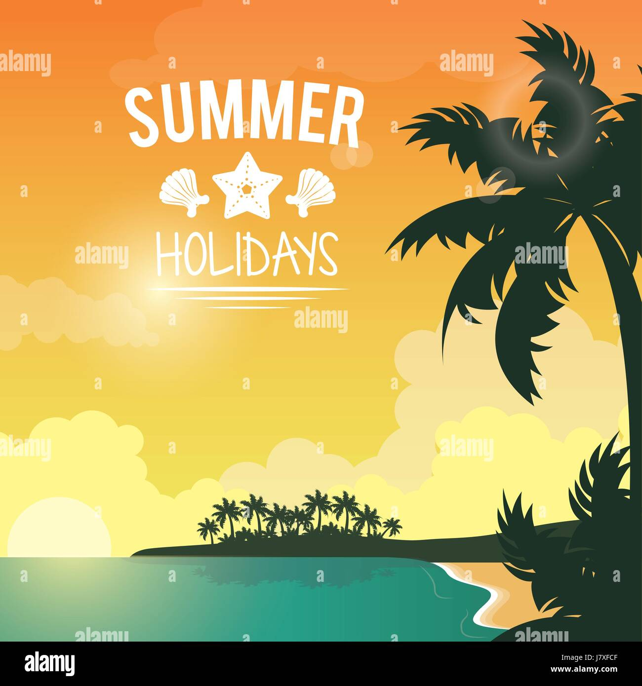 poster sunset seaside with logo summer holydays - Stock Vector