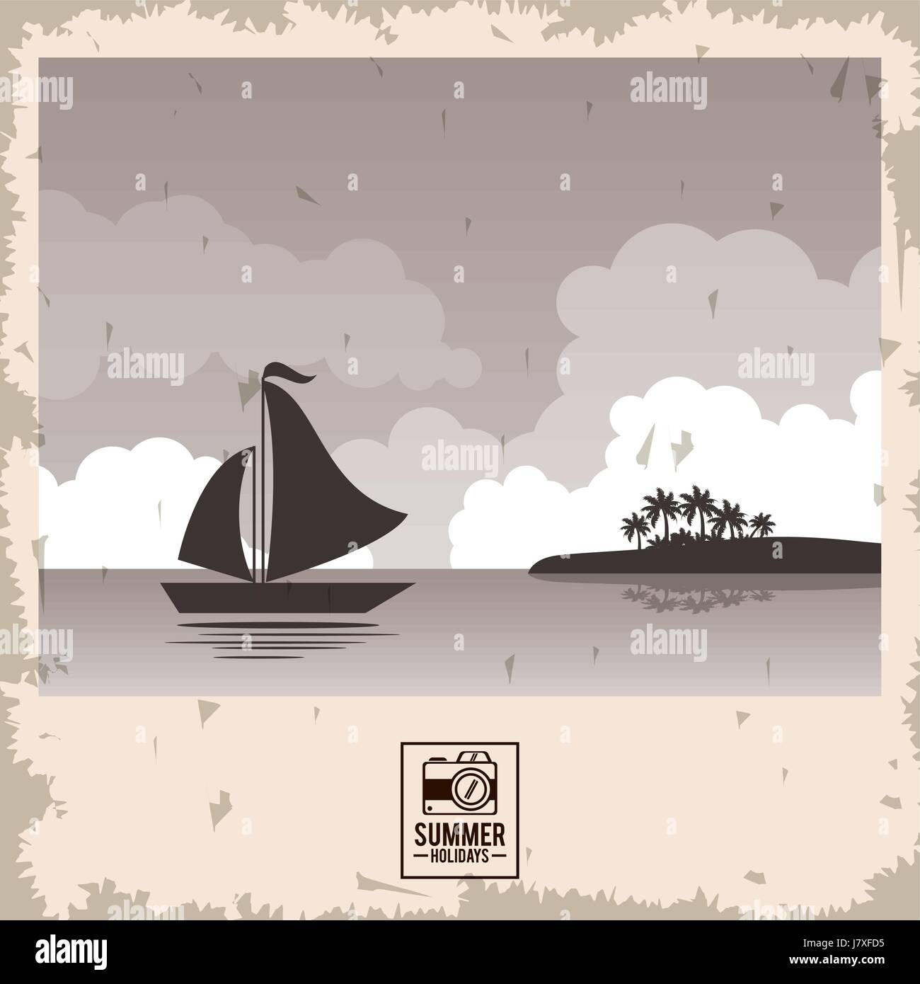 sepia color poster seaside with yacht and summer holydays typography - Stock Vector