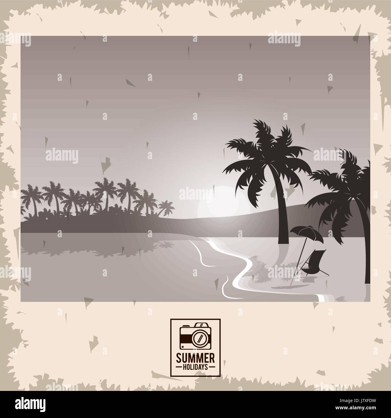 sepia color poster seaside with summer holydays typography - Stock Vector