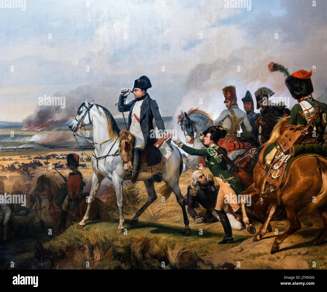Napoleon Bonaparte at the Battle of Wagram on 6th July 1809 by Horace Vernet, oil on canvas, 1836. - Stock Image