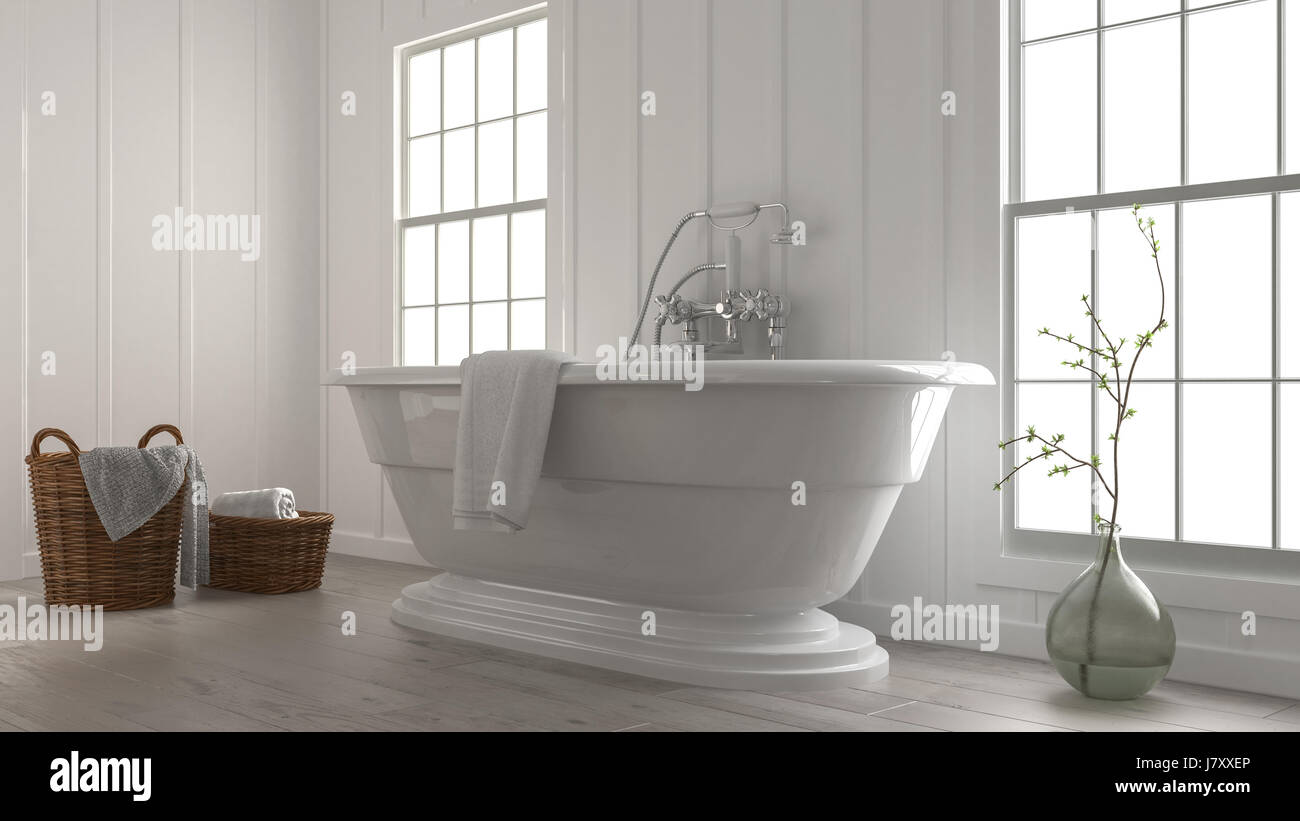 3d Rendering Of A Stylish Modern Boat Shaped Bathtub In A Clean Fresh White  Monochromatic Bathroom With Wicker Baskets And Plant In A Glass Jar