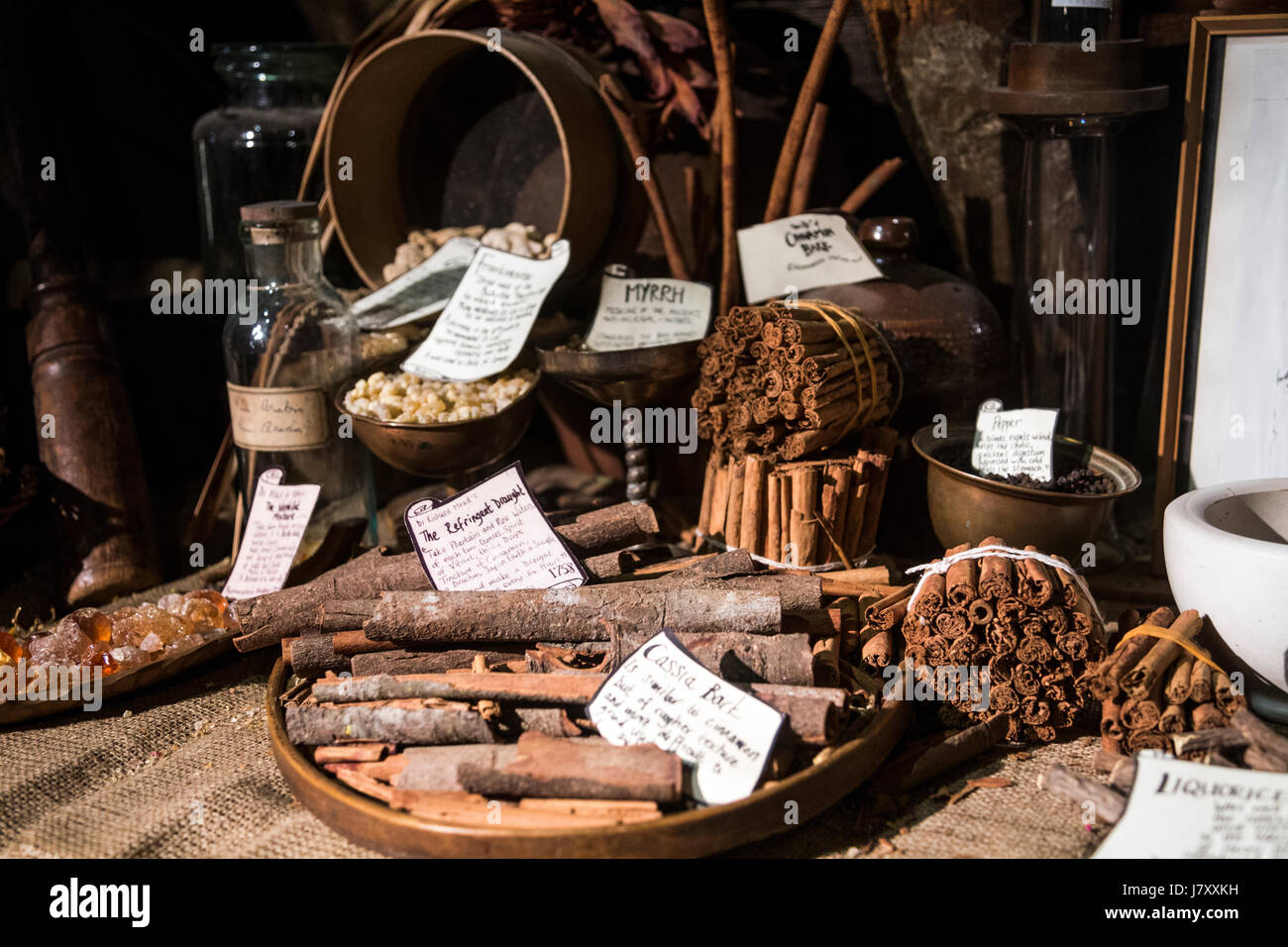 Traditional victorian apothecary's, counter with spices, herbs, pestle and mortar (Old Operating Theatre Museum - Stock Image