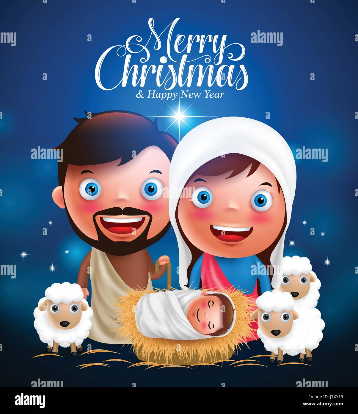 Merry Christmas Greetings With Jesus Born In Manger Belen With