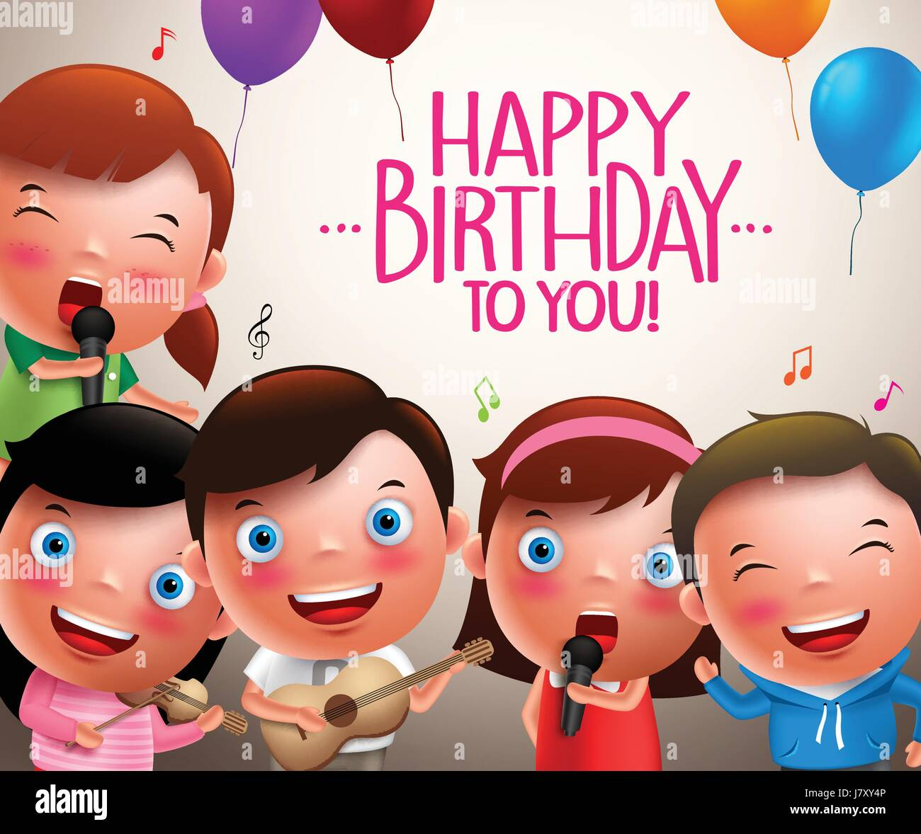Kids Vector Characters Singing Happy Birthday And Happy Playing