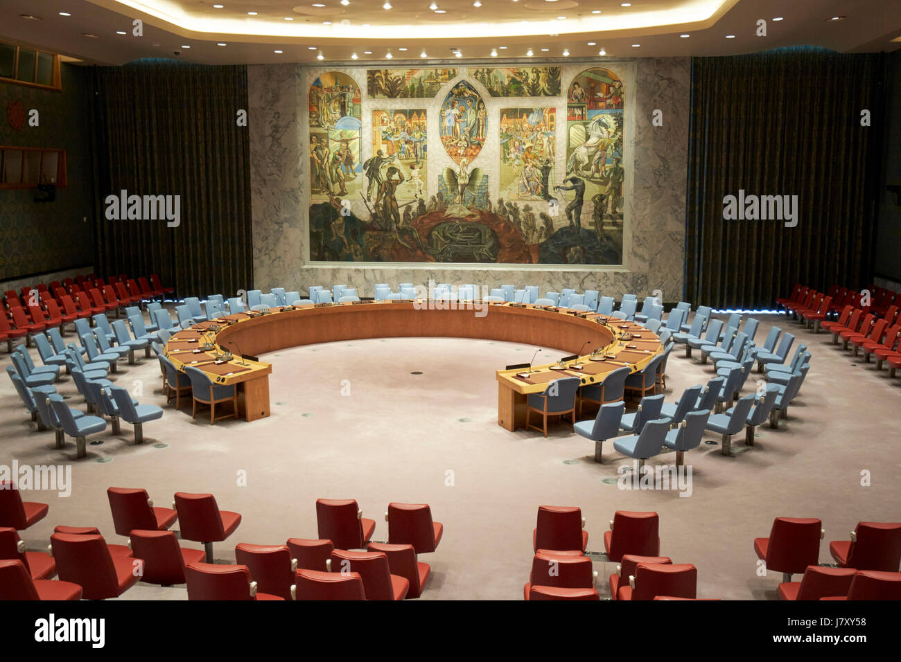 security council chamber at the United Nations headquarters building New York City USA - Stock Image