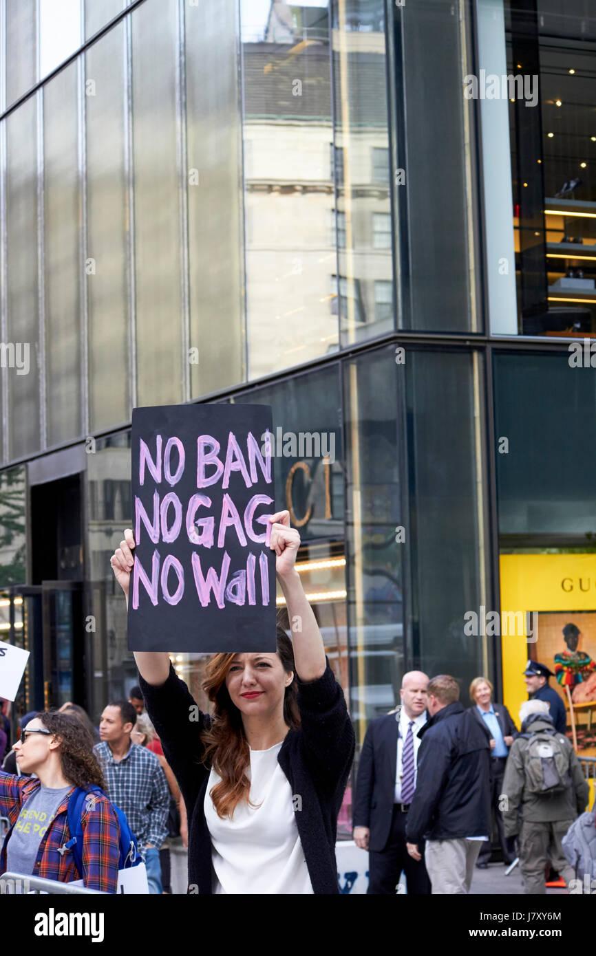 female anti trump protestors outside trump tower manhattan New York City USA - Stock Image