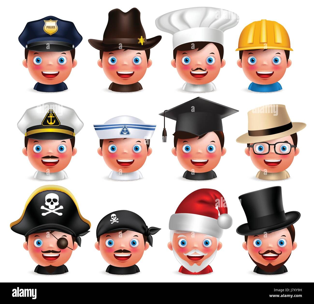 Profession avatar set of happy emoticon heads with different hats of police, seaman, magician, Santa Claus and pirate - Stock Vector