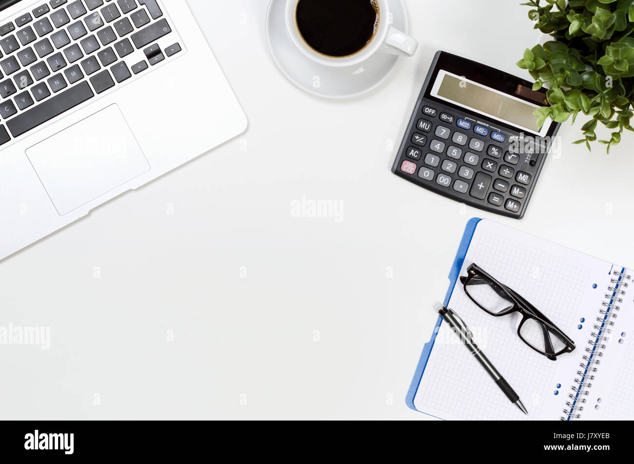 Top office table cup Notebook Office Desk Table With Laptop Coffee Cup And Supplies Top View Desk Top View White Office Table Notebook Calculator Concept Alamy Office Desk Table With Laptop Coffee Cup And Supplies Top View