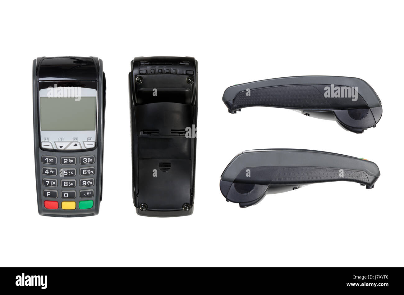 Payment terminal isolated on white. Top, bottom, sides, texture - Stock Image
