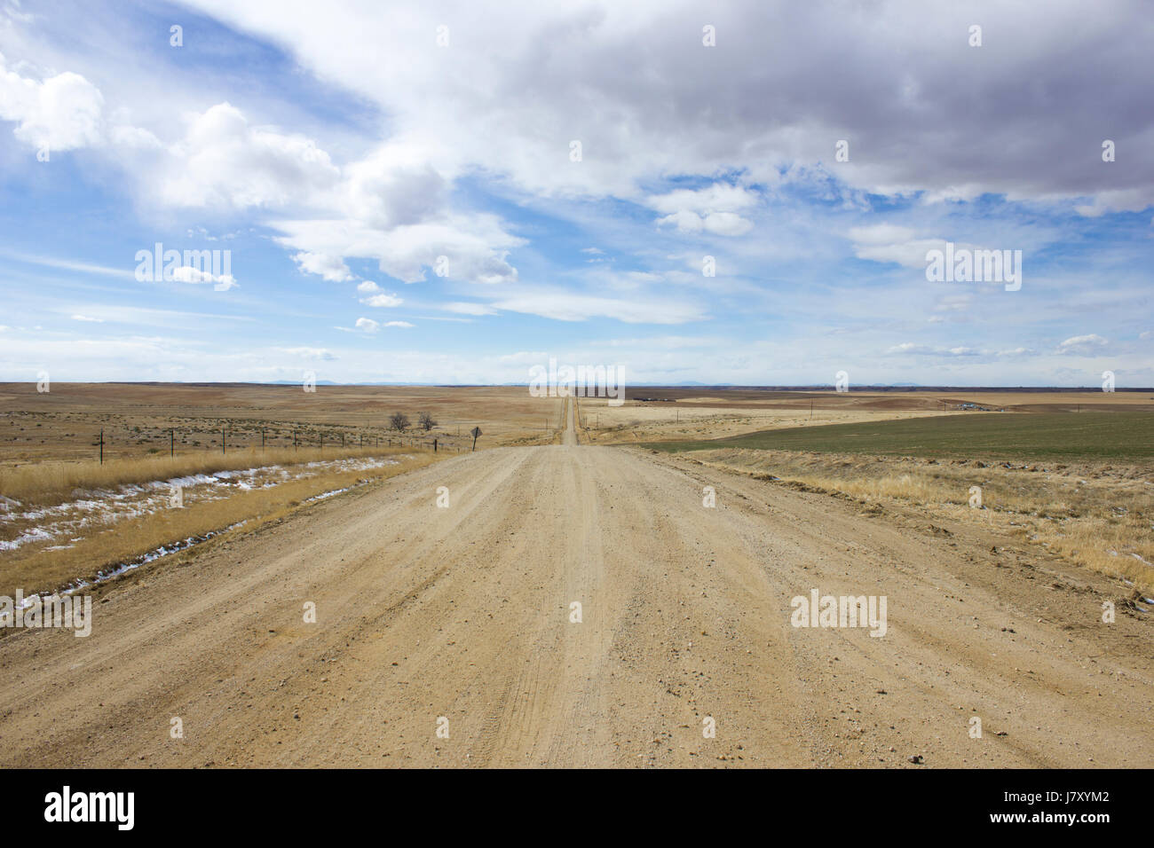 A dirt road through cultivated land in the prairies of Colorado - Stock Image