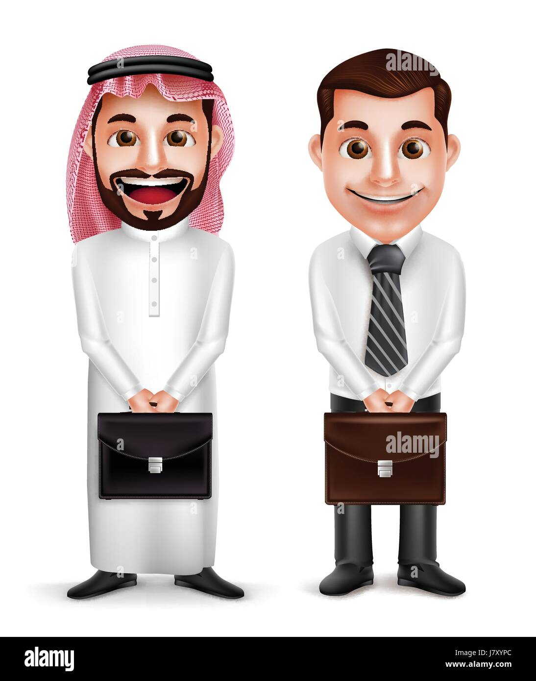 Saudi Arab man and a businessman vector characters holding briefcase with a friendly smile isolated in white background. - Stock Image