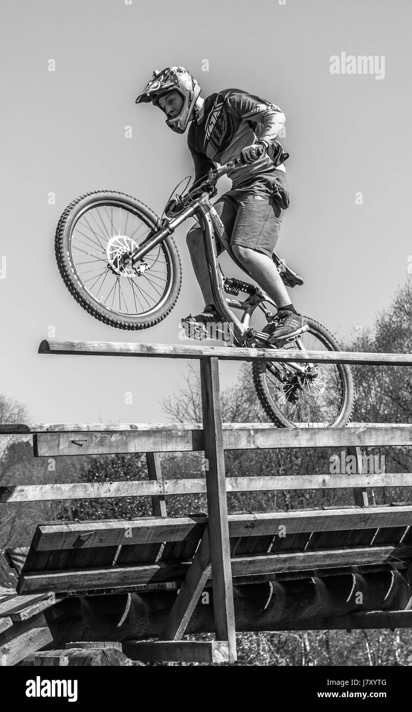 A mountain bike or mountain bicycle (abbreviated Mtn Bike or MTB) is a bicycle designed for off-road cycling. - Stock Image