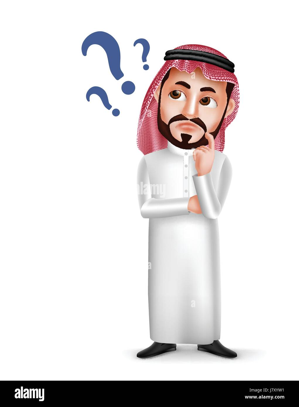 Saudi Arab man vector character wearing thobe with confused or thinking facial expression isolated in white background. - Stock Image