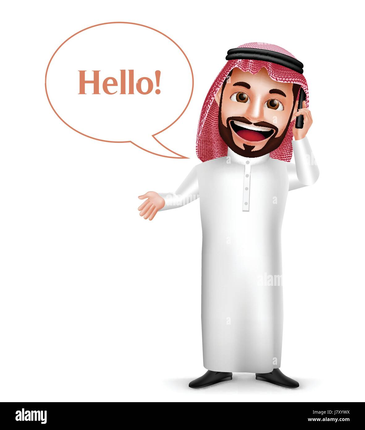 Saudi Arab man vector character holding mobile phone calling with hello speech bubbles isolated in white background. - Stock Image