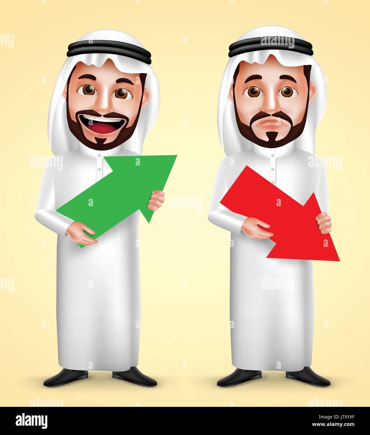 Saudi Arab man vector character wearing white traditional dress with facial expressions holding up and down arrow - Stock Image