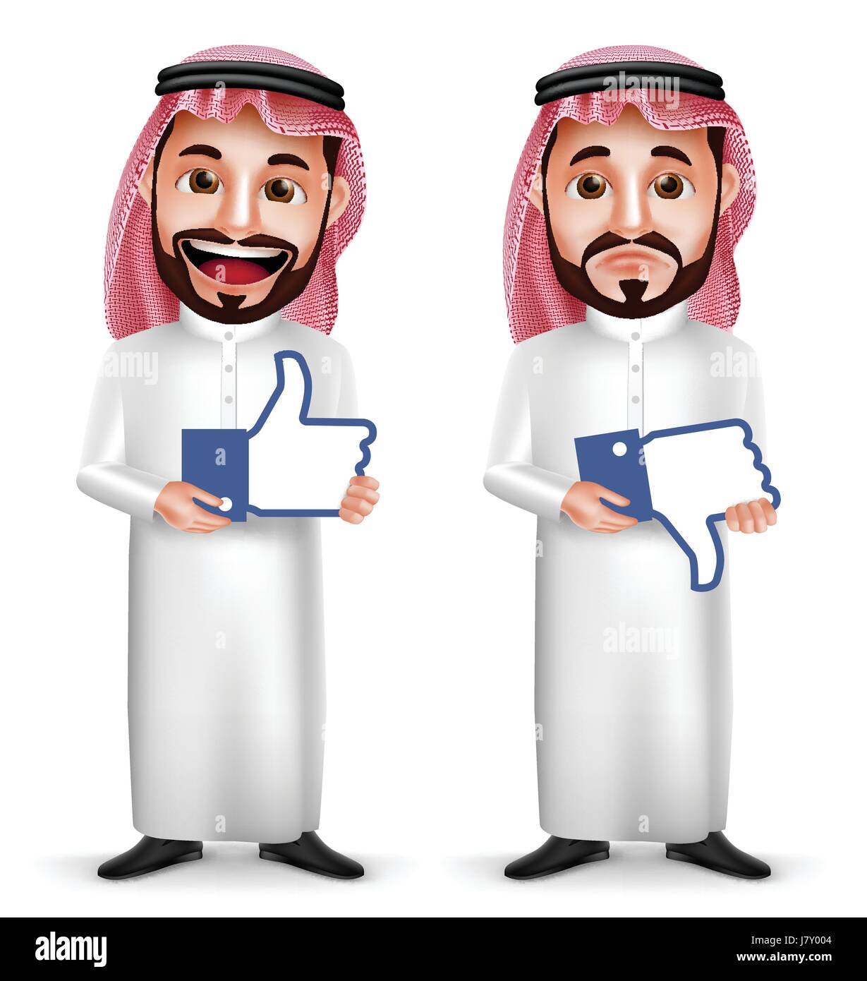 Saudi Arab man vector character with facial expressions holding like and dislike sign icon for social media isolated - Stock Image