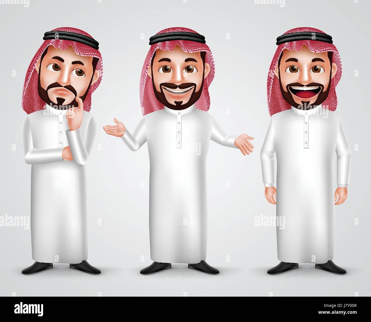 Saudi Arab man vector character set wearing thobe and gutra with different friendly gesture like thinking, speaking - Stock Image