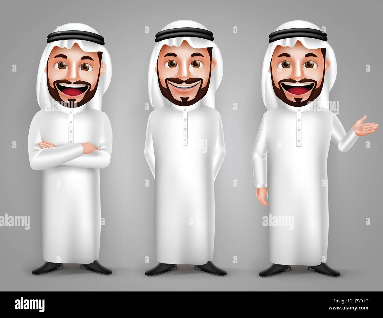 Saudi Arab man vector character set with different friendly gesture and professional pose for business purpose. Stock Vector