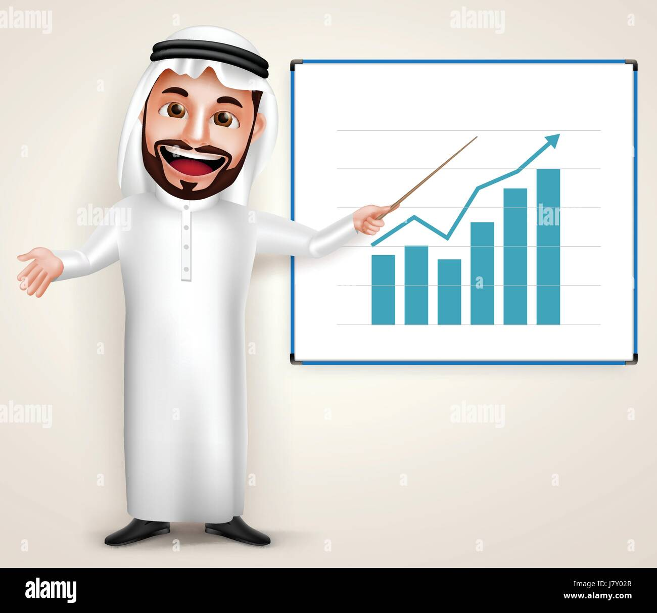 Professional Saudi Arab man vector character wearing thobe teaching chart graph in white board. Vector illustration. - Stock Image