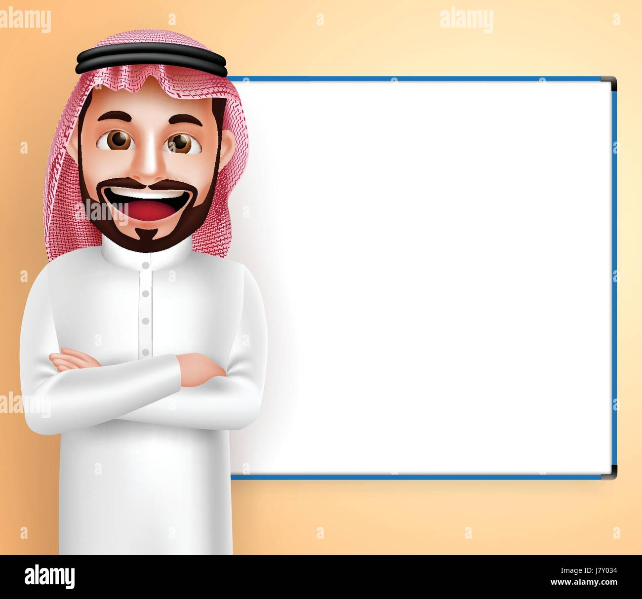 Saudi Arab man vector character wearing thobe speaking with blank white board in the background. Vector illustration. - Stock Image