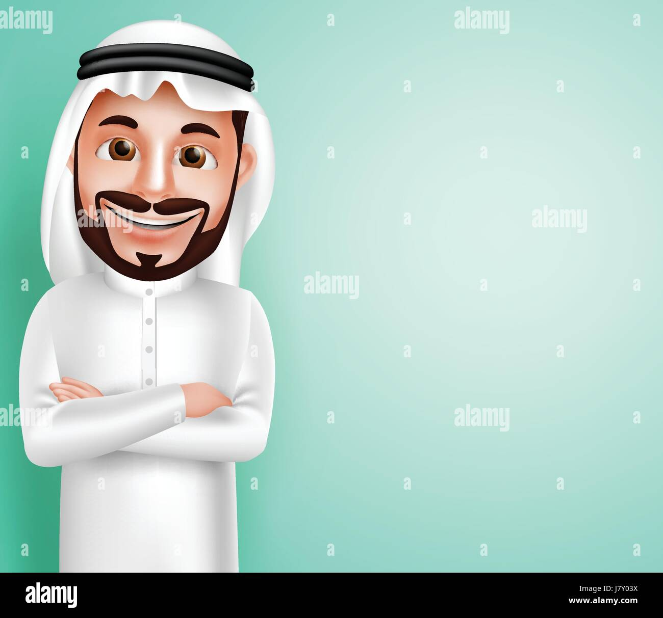 Saudi Arab man vector character wearing thobe happy posing with blank space in the background for text contents. - Stock Image