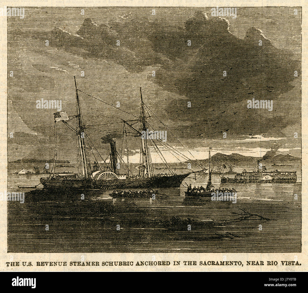 Antique c1870 engraving, The USLHT Shubrick (1865) Anchored in the Sacramento River, near Rio Vista, California. - Stock Image