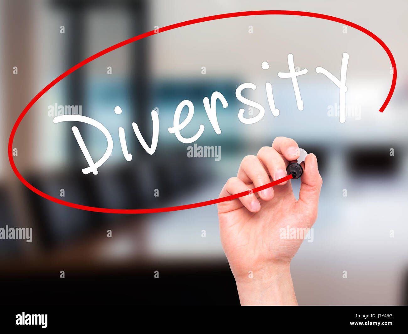 Man Hand writing Diversity with marker on transparent wipe board. Isolated on office. Business, internet, technology - Stock Image