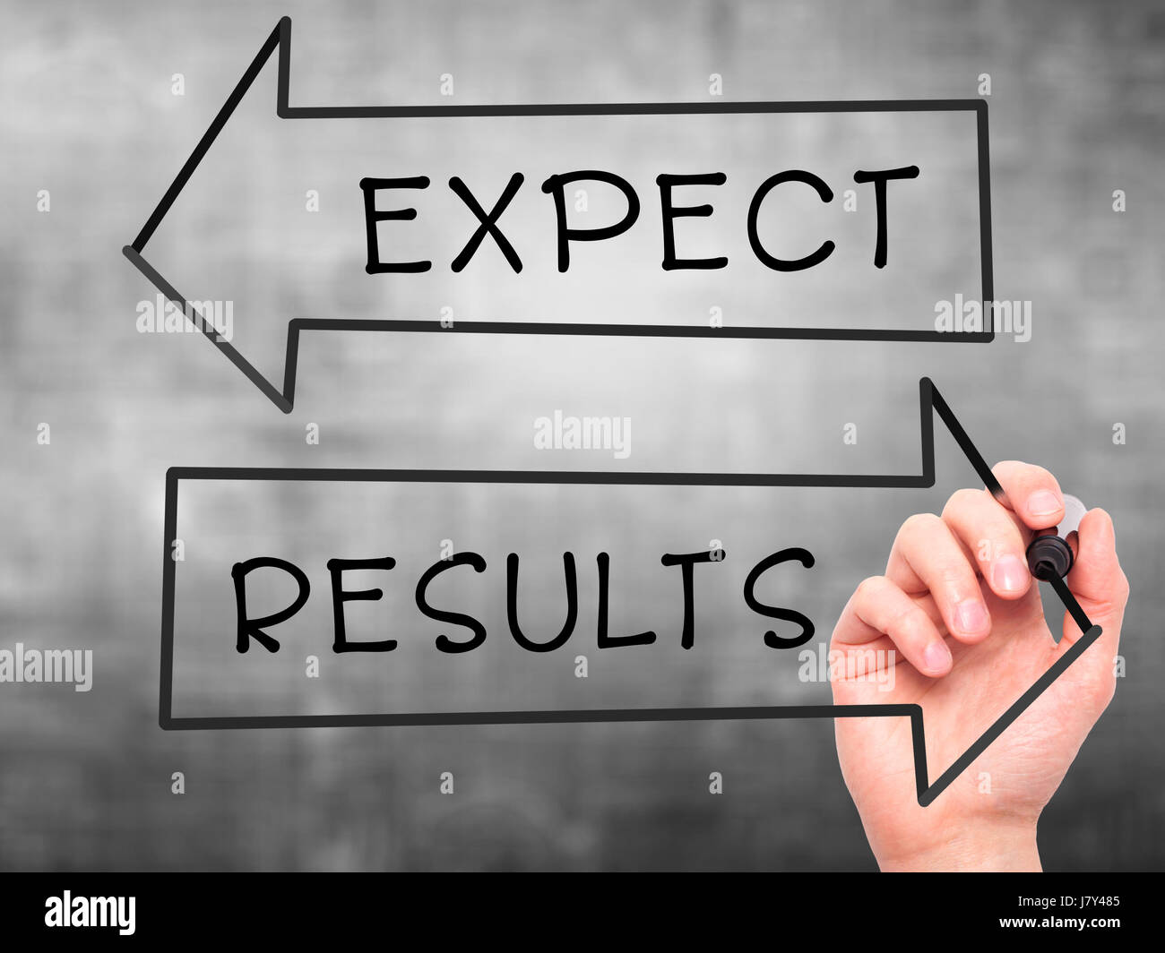 Man Hand writing Expect and Results with marker on transparent wipe board. Isolated on grey. Business, internet, technology concept. Stock Photo Stock Photo