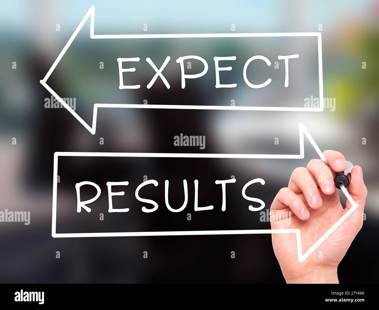 Man Hand writing Expect and Results with marker on transparent wipe board. Isolated on office. Business, internet, technology concept. Stock Photo Stock Photo