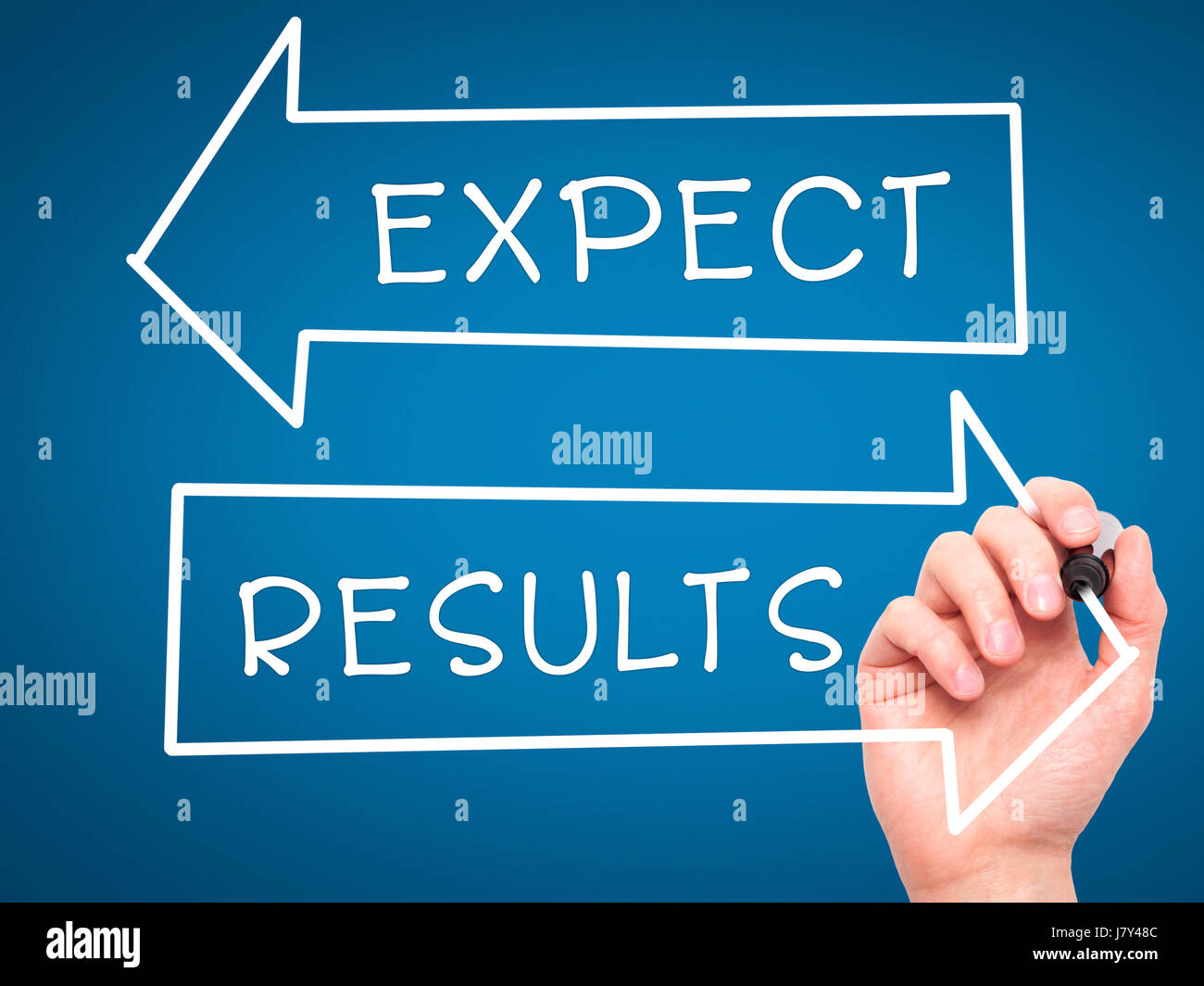 Man Hand writing Expect and Results with marker on transparent wipe board. Isolated on blue. Business, internet, technology concept. Stock Photo Stock Photo
