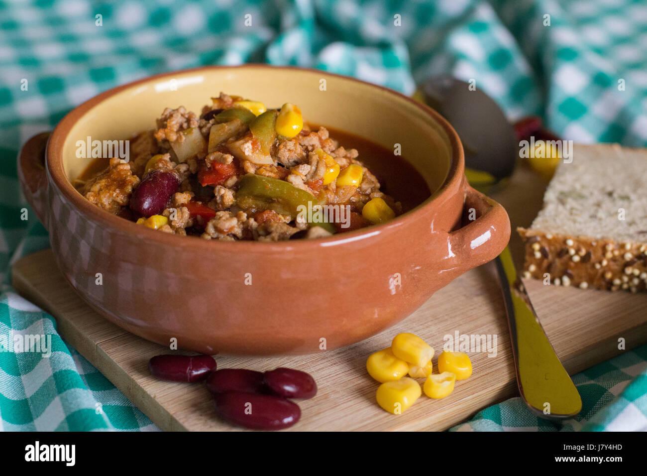 plate of chilli con carne - Stock Image