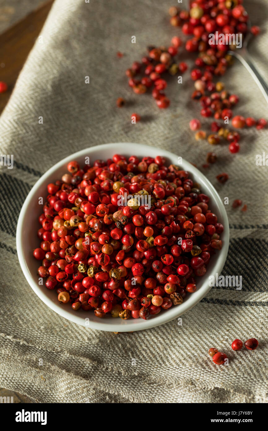 Dry Organic Red Peppercorns Ready to Grind Up Stock Photo