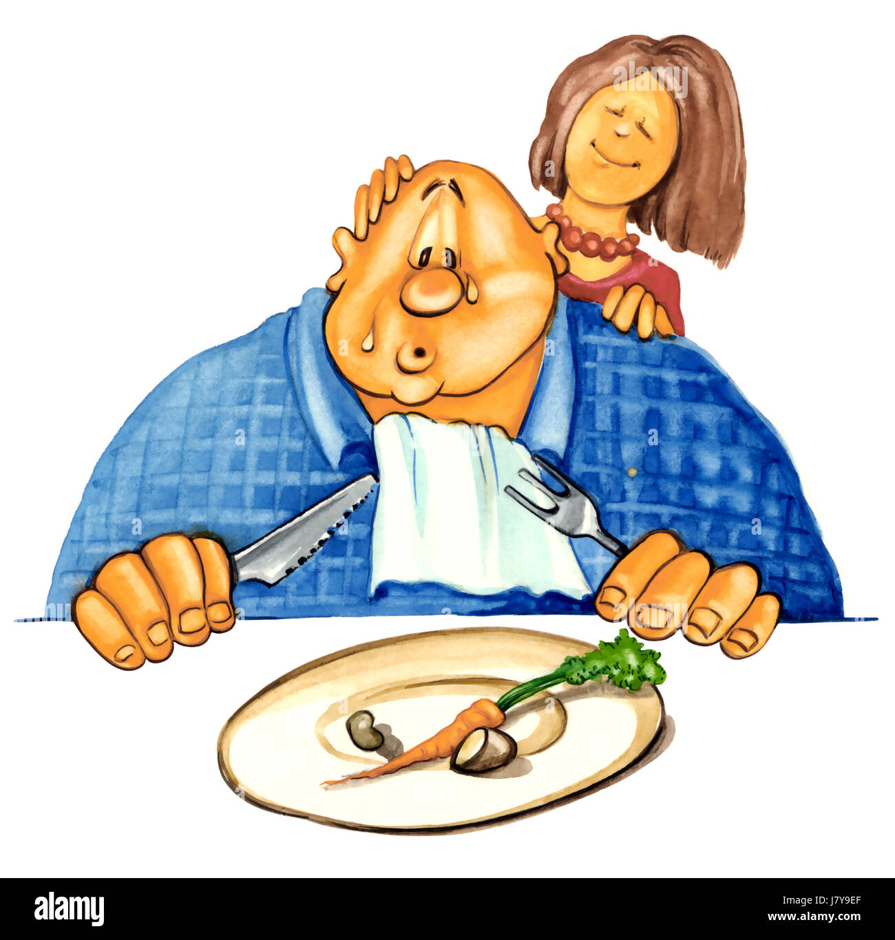 sad illustration diet overweight cartoon thick wide fat couple pair man guy Stock Photo