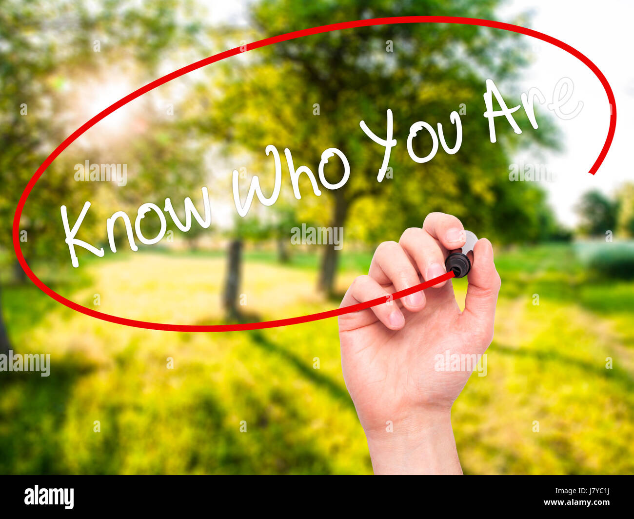 Man Hand writing Know Who You Are with black marker on visual screen. Isolated on nature. Business, technology, - Stock Image