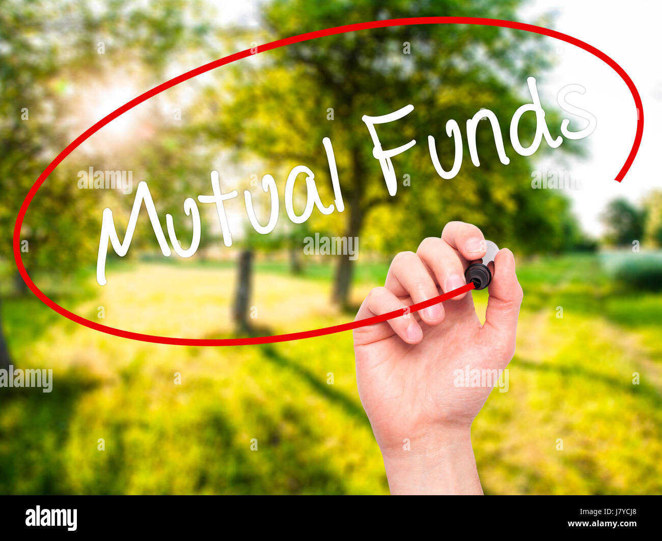Man Hand writing Mutual Funds  with black marker on visual screen. Isolated on nature. Business, technology, internet - Stock Image