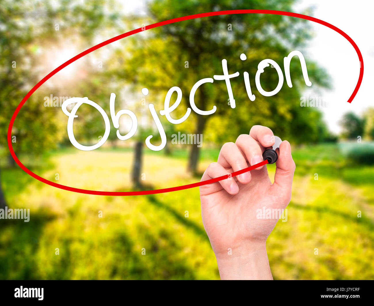 Man Hand writing Objection with black marker on visual screen. Isolated on background. Business, technology, internet - Stock Image